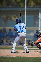 Tampa Bay Rays Moises Gomez (70) during a minor league Spring Training game against the Baltimore Orioles on March 29, 2017 at the Buck O'Neil Baseball Complex in Sarasota, Florida.  (Mike Janes/Four Seam Images)