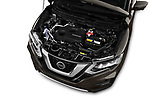Car Stock 2018 Nissan X-Trail Tekna 5 Door SUV Engine  high angle detail view