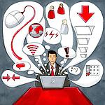 Businessman multi-tasking on computer