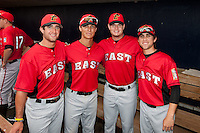(Left to Right) Matt Helm (22), Zach Walters (2), David Holmberg (29), and Ender Inciarte (1) of the South Bend Silver Hawks pose for a portrait during the Midwest League All-Star Home Run Derby at Modern Woodmen Park on June 20, 2011 in Davenport, Iowa. (David Welker / Four Seam Images)