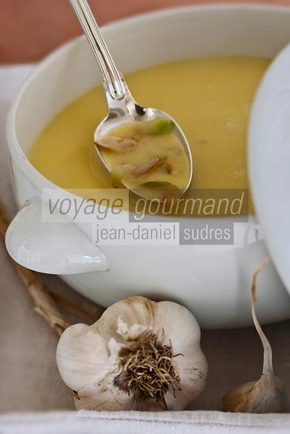 Europe/France/Midi-Pyrénées/32/Gers/Saint-Mézard: Tourain blanchi à l'ail , recette de Madame Bernadette Depis de la Ferme-Auberge du Mont Saint-Jean