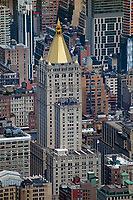 aerial photograph New York Life Building, Manhattan, New York City and adjacent high rise buildings