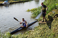 26 MAY 2013 - BRIGG, GBR - Keith Longney (Masters 50) of BQA starts the kayak leg of the 2013 Brigg Bomber Quadrathlon, a World Quadrathlon Federation World Cup round and the British Championships, held in Brigg in Lincolnshire, Great Britain .(PHOTO (C) 2013 NIGEL FARROW)