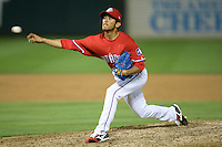 Pitcher Yoshi Tateyama #22 of the Round Rock Express delivers against the Oklahoma City RedHawks on April 26, 2011 at the Dell Diamond in Round Rock, Texas. (Photo by Andrew Woolley / Four Seam Images)
