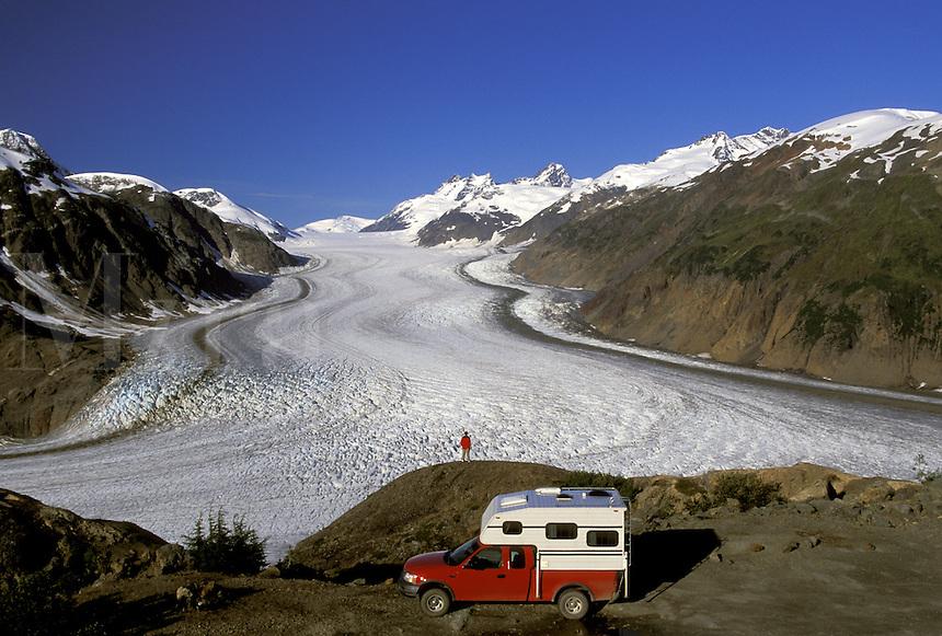 Camper at Salmon Glacier Summit.  Alaska/British Columbia.  MR/PR