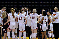 SANTA CRUZ, CA - JANUARY 22: Tara VanDerveer and team in a time-out during the Stanford Cardinal women's basketball game vs the UCLA Bruins at Kaiser Arena on January 22, 2021 in Santa Cruz, California.