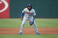 Buffalo Bison third baseman Vladimir Guerrero Jr. (47) on defense against the Charlotte Knights at BB&T BallPark on August 14, 2018 in Charlotte, North Carolina. The Bison defeated the Knights 14-5.  (Brian Westerholt/Four Seam Images)