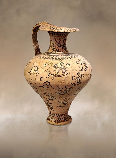 Minoan decorated jug with Marine style shell decoration, Zakros Palace  1500-1450 BC; Heraklion Archaeological  Museum.