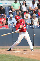 Justin Alexander (25) of the Vancouver Canadians bats during a game against the Eugene Emeralds at Nat Bailey Stadium on July 22, 2015 in Vancouver, British Columbia. Vancouver defeated Eugene, 4-2. (Larry Goren/Four Seam Images)