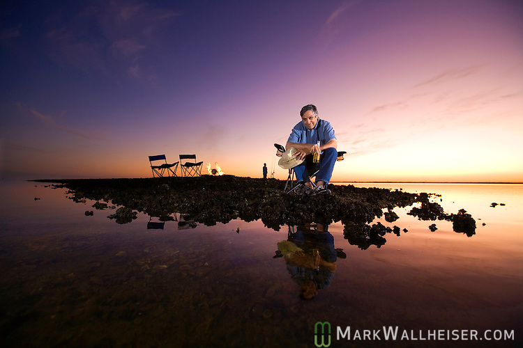 Ulee's Gold movie director Victor Nunez relaxes along the coast at Shell Point in Wakulla County, Florida.