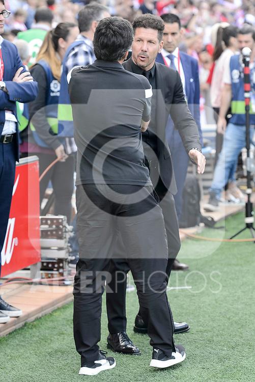 Atletico de Madrid's coach Diego Pablo Simeone and SD Eibar's /coach Jose Luis Mendilibar Echebarria during Liga Liga match between Atletico de Madrid and SD Eibar at Vicente Calderon Stadium in Madrid, May 06, 2017. Spain.<br /> (ALTERPHOTOS/BorjaB.Hojas)