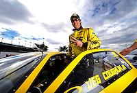 Oct. 31, 2008; Las Vegas, NV, USA: NHRA pro stock driver Jeg Coughlin Jr during qualifying for the Las Vegas Nationals at The Strip in Las Vegas. Mandatory Credit: Mark J. Rebilas-