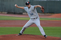 West Michigan Whitecaps pitcher Ross Seaton (38) delivers a pitch during game five of the Midwest League Championship Series against the Cedar Rapids Kernels on September 21st, 2015 at Perfect Game Field at Veterans Memorial Stadium in Cedar Rapids, Iowa.  West Michigan defeated Cedar Rapids 3-2 to win the Midwest League Championship. (Brad Krause/Four Seam Images)