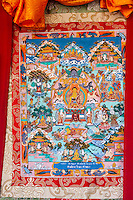 Nepal, Changu Narayan.  Thangka, a Tibetan Buddhist Religious Painting.
