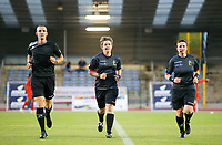 Assistant referee Cedric Beheydt, Referee Sylvie Deckers and Assistant referee Ella De Vries warming up before  a female soccer game between FC Femina White Star Woluwe and Oud Heverlee Leuven on the fourth matchday in the 2021 - 2022 season of Belgian Scooore Womens Super League , Friday 10 th of September 2021  in Woluwe , Belgium . PHOTO SPORTPIX | SEVIL OKTEM