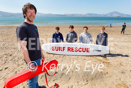 John Edwards of Wild Water Adventures in Fenit standing with his Lifeguard trainees in Fenit. Front left: John Edwards. Back l to r: Conor Enright, Phelin McCarroll, Cian Lawless and Noah Edwards.