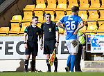 St Johnstone v Hearts…05.04.17     SPFL    McDiarmid Park<br />Ref Nick Walsh talks with his assitsnat referee before sending off Sam Nicholson<br />Picture by Graeme Hart.<br />Copyright Perthshire Picture Agency<br />Tel: 01738 623350  Mobile: 07990 594431