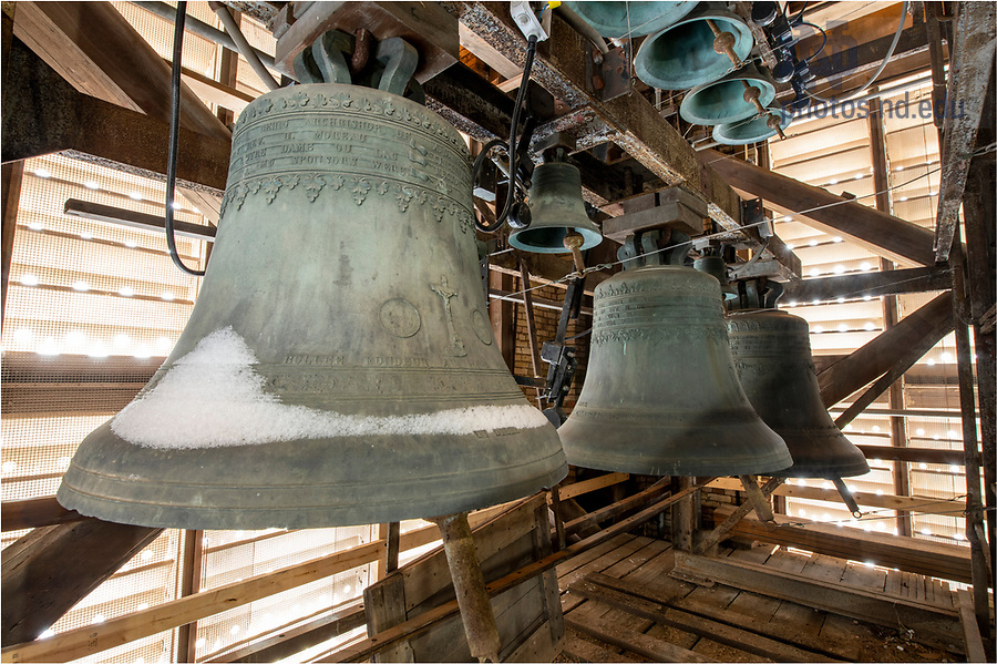 January 28, 2021; Snow on the bells of the carillon in Basilica of the Sacred Heart. (Photo by Barbara Johnston/University of Notre Dame)