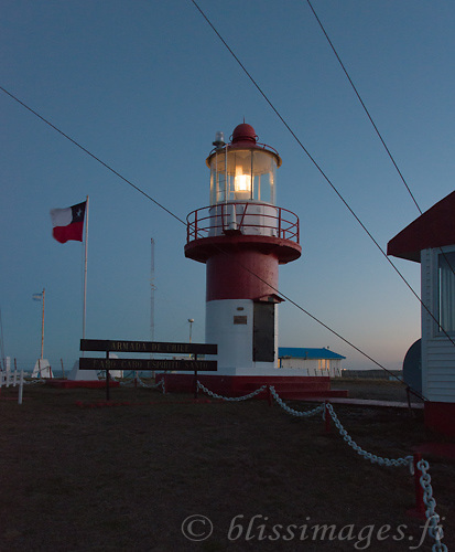 Cabo Espiritu Santo Light on the border of Chile and Argentina at Atlantic entrance to the Strait of Magellan,  -Tierra del Fuego, Chile