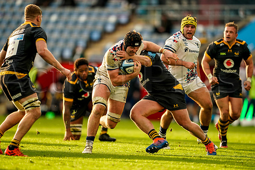 22nd November 2020; Ricoh Arena, Coventry, West Midlands, England; English Premiership Rugby, Wasps versus Bristol Bears; Ed Holmes of Bristol stays strong in the tackle
