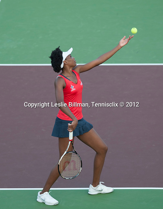 Venus Williams of the Kastless play at the World Team Tennis match between the Washington Kastles and the Boston Lobsters on July 16, 2012 in Washington, DC.