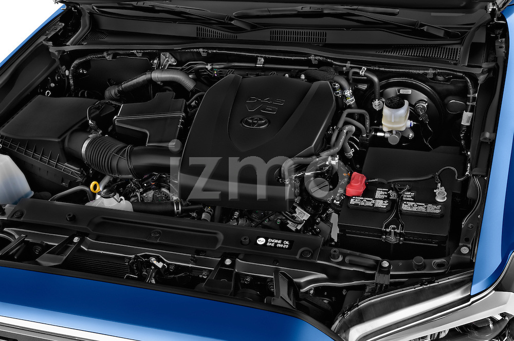 Car Stock 2016 Toyota Tacoma TRD Sport 4 Door Pickup Engine high angle detail view