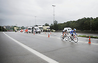 Daan Myngheer (BEL/VerandasWillems) & Frederik Backaert (BEL/Wanty-Groupe Gobert) succeed in staying ahead of the peloton with less than 10km to go, as they hit the Big Brussels Ringway riding parallel with heavy traffic.<br /> <br /> Brussels Cycling Classic 2015