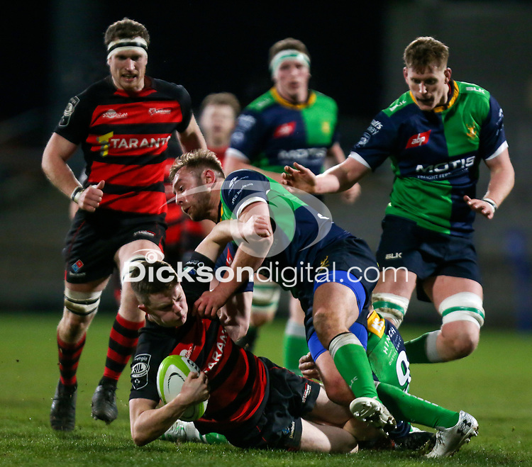 Friday 6th March 2020 | Armagh RFC vs Ballynahinch RFC<br /> <br /> Shea O'Brien on the attack for Armagh is tackled by Ross Adair during the Bank Of Ireland Ulster Senior Cup Final between the City of Armagh RFC and Ballynahinch RFC at Kingspan Stadium, Ravenhill Park, Belfast, Northern Ireland. Photo by John Dickson / DICKSONDIGITAL