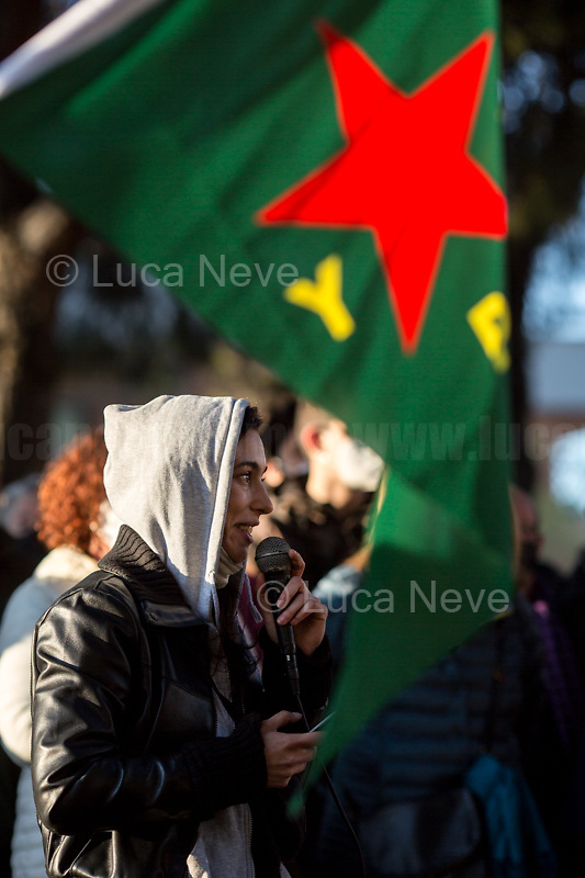"""Maria Edgarda 'Eddi' Marcucci, Italian citizen who fought in the North of Syria / Rojava against ISIS along with the Kurdish forces.<br /> <br /> Rome, Italy. 23rd Apr, 2021. Today, Azione Antifascista Roma Est, supported by ANPI (Associazione Nazionale Partigiani d'Italia ANPI - National Association of Italian Partizans, Members of the Italian Resistance in WWII) Centocelle and the Kurdish Community (Rete Kurdistan Roma and Ararat Kurdish Cultural Centre), held a demonstration (1.) to commemorate the second anniversary of the death of Lorenzo """"Orso"""" Orsetti, the Italian citizen who died the 18th of March 2019 in the North of Syria / Rojava while fighting against ISIS along with the Kurdish forces. At the end of the demo a memorial plaque was installed in Camelie's Square which says: """"Ogni tempesta comincia con una singola goccia. Cercate di essere voi quella goccia"""" (Every storm begins with a single drop. Try to be that drop). <br /> <br /> Footnotes & Links:<br /> 1. http://bit.do/fQAAU <br /> (Source, Wikipedia.org ENG) https://en.wikipedia.org/wiki/Lorenzo_Orsetti"""