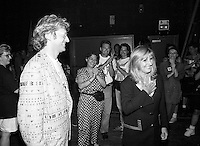 Montreal (Qc) CANADA - July 1992 File Photo - Juste Pour Rire Festival - Gilbert Rozon (L),  Dominique Michel<br />  (R) after her tribute onstage at Theatre Saint-Denis