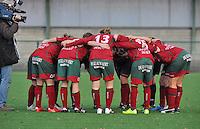 Dames Zulte - Waregem - Femina White Star Woluwe : Zulte-Waregem motiveert zichzelf voor de wedstrijd.foto DAVID CATRY / Vrouwenteam.be