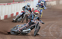 Heat 13: Ben Morley (red), Zach Wajtknecht (blue) and Georgie Wood (yellow)<br /> <br /> Photographer Rob Newell/CameraSport<br /> <br /> National League Speedway - Lakeside Hammers v Eastbourne Eagles - Lee Richardson Memorial Trophy, First Leg - Friday 14th April 2017 - The Arena Essex Raceway - Thurrock, Essex<br /> © CameraSport - 43 Linden Ave. Countesthorpe. Leicester. England. LE8 5PG - Tel: +44 (0) 116 277 4147 - admin@camerasport.com - www.camerasport.com