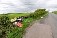 Fly tipping in field gateway - Northamptonshire, MAy