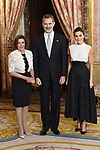 King Felipe VI of Spain (c) and Queen Letizia of Spain (r) receive U.S. House Speaker Nancy Pelosi because of the United Nations conference for the Climate Summit 2019 (COP25) at the Royal Palace. December 2,2019. (ALTERPHOTOS/Pool/Carlos Alvarez)
