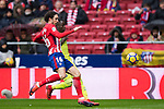 Sime Vrsaljko (L) of Atletico de Madrid fights for the ball with Amath Ndiaye Diedhiou of Getafe CF during the La Liga 2017-18 match between Atletico de Madrid and Getafe CF at Wanda Metropolitano on January 06 2018 in Madrid, Spain. Photo by Diego Gonzalez / Power Sport Images