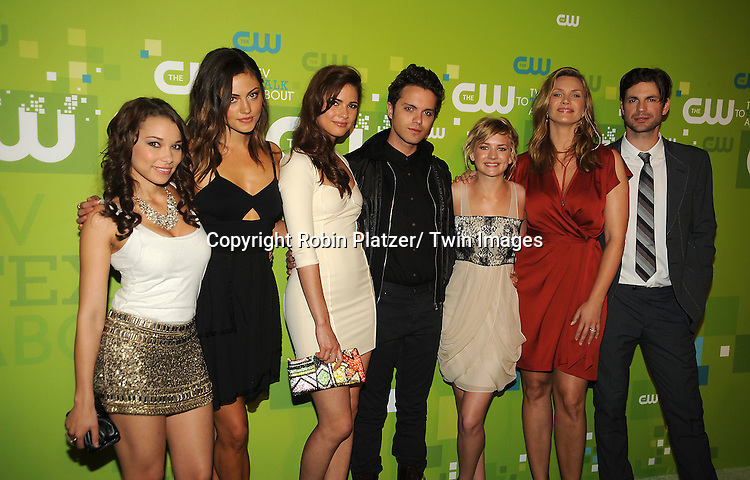 """cast of """"The Secret Circle"""" Jessica Parker Kennedy, Phoebe Jane Tonkin, Thomas Dekker, Britt Robertson, Natasha Henstridge and Gale Harold attending The CW 2011 Upfront on May 19, 2011 at Jazz at Lincoln Center in New York City."""
