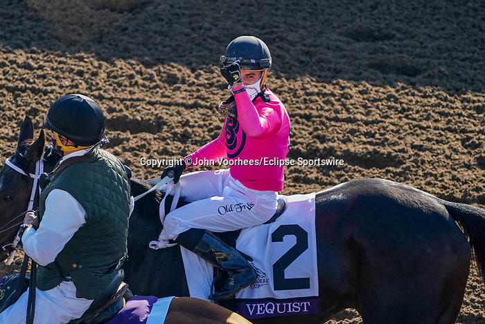 November 6, 2020: Vequist, ridden by Joel Rosario, wins the Juvenile Fillies on Breeders' Cup Championship Friday at Keeneland on November 6, 2020: in Lexington, Kentucky. John Voorhees/Eclipse Sportswire/Breeders Cup/CSM