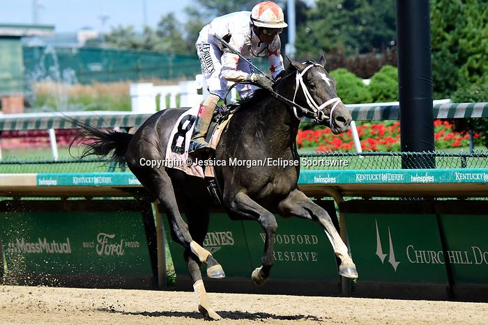 June 26, 2021: Double Thunder, #8, ridden by jockey John Velazquez, wins the Bashford Manor Stakes (Grade 3) at Churchill Downs on June 26, 2021 in Louisville, Kentucky. Jessica Morgan/Eclipse Sportswire/CSM