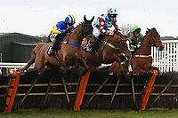 Marmont (l) Ding Ding (m) and Darkest Day (r) jump the last first time around in The Extech Cloud-Humanising It Handicap Hurdle during Horse Racing at Plumpton Racecourse on 10th February 2020
