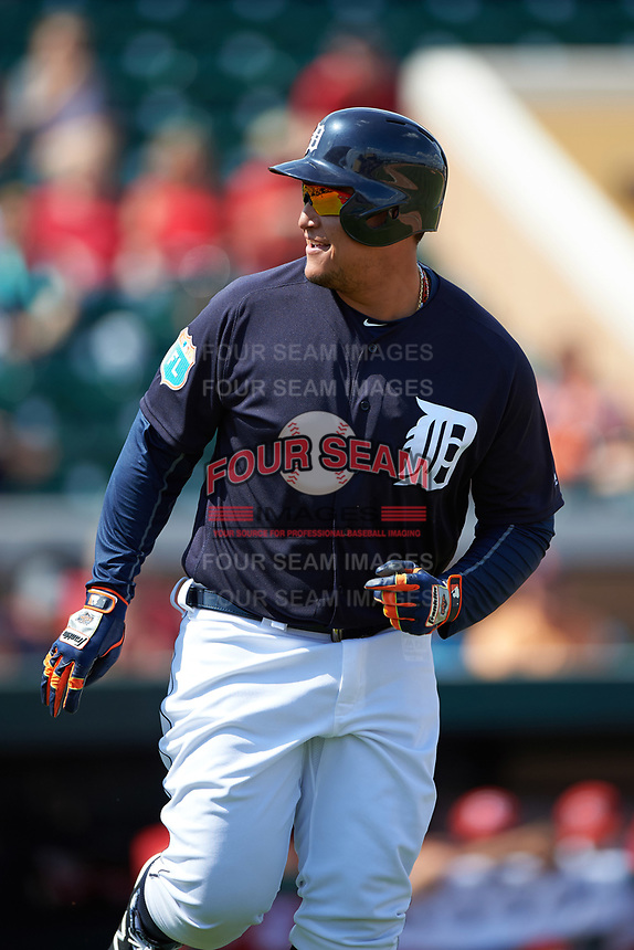 Detroit Tigers first baseman Miguel Cabrera (24) jogs to first base during an exhibition game against the Florida Southern Moccasins on February 29, 2016 at Joker Marchant Stadium in Lakeland, Florida.  Detroit defeated Florida Southern 7-2.  (Mike Janes/Four Seam Images)