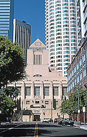 Los Angeles: L. A. Public Library--South Elevation from 6th St. (Behind it and to right is First Interstate World Center, 1988-1990, I.M. Pei. Photo '96.