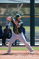 Oakland Athletics first baseman Hunter Hargrove (15) during a Minor League Spring Training game against the Chicago Cubs at Sloan Park on March 19, 2018 in Mesa, Arizona. (Zachary Lucy/Four Seam Images)