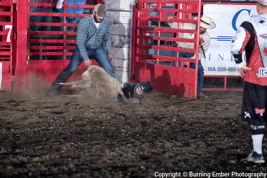Mutton Bustin at the Xtreme Bulls event at the Gem State Stampede August 23rd, 2018 in Couer D'Alene ID.  Photo by Josh Homer/Burning Ember Photography.  Photo credit must be given on all uses.
