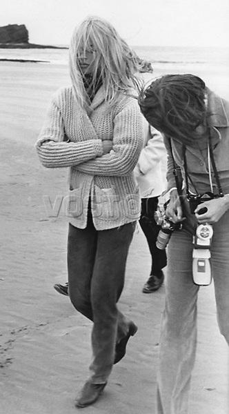 "A windswept Brigitte Bardot arriving on the beach to start filming ""Two Weeks in September"" September 6, 1966."