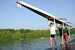 Rowers from Binghamton launch their Men's Varsity Heavyweight Four boat during the 68th Dad Vail Regatta on the Schuylkill River in Philadelphia, Pennsylvania on May 12, 2006...............