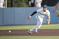 Michigan Wolverines third baseman Drew Lugbauer (17) prepares to field a ground ball during the NCAA baseball game against the Eastern Michigan Eagles on May 16, 2017 at Ray Fisher Stadium in Ann Arbor, Michigan. Michigan defeated Eastern Michigan 12-4. (Andrew Woolley/Four Seam Images)