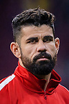 Diego Costa of Atletico de Madrid reacts prior to the UEFA Europa League quarter final leg one match between Atletico Madrid and Sporting CP at Wanda Metropolitano on April 5, 2018 in Madrid, Spain. Photo by Diego Souto / Power Sport Images