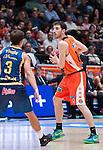 Valencia BC's Guillem Vives and Herbalife Gran Canaria's Kevin Pangos  during ACB match. November 29, 2015. (ALTERPHOTOS/Javier Comos)