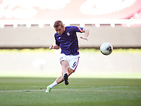 ZAPOPAN, MEXICO - MARCH 21: Jackson Yueill #6 of the United States shoots the ball during warm ups before a game between Dominican Republic and USMNT U-23 at Estadio Akron on March 21, 2021 in Zapopan, Mexico.