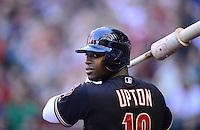 Apr. 21, 2012; Phoenix, AZ, USA; Arizona Diamondbacks outfielder Justin Upton in the on deck circle in the first inning against the Atlanta Braves at Chase Field. Mandatory Credit: Mark J. Rebilas-